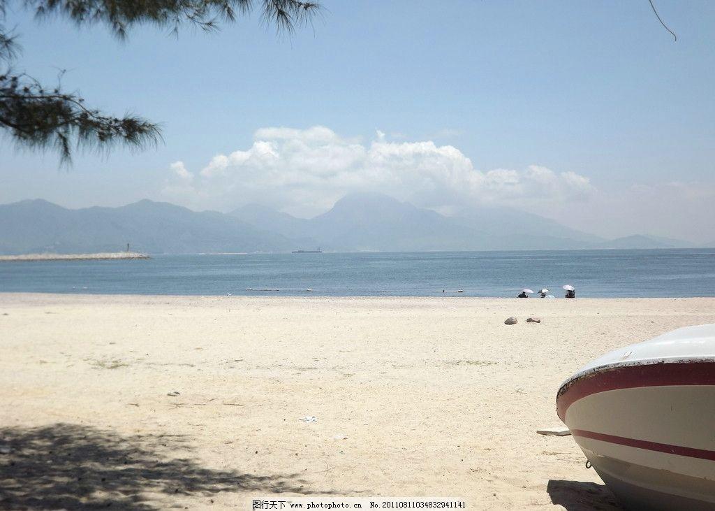 桂山岛 蓝天 树阴 白云 海岛 沙滩 摄影 海边