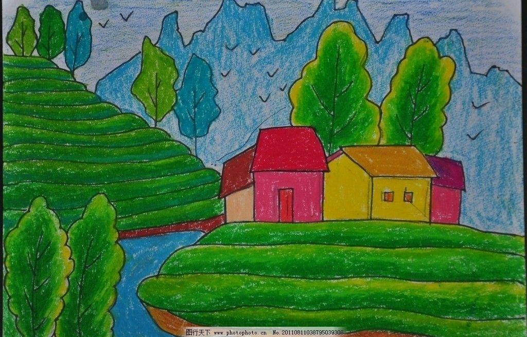 儿童画 山坡 小屋 高山 河流 小树 美术绘画 摄影