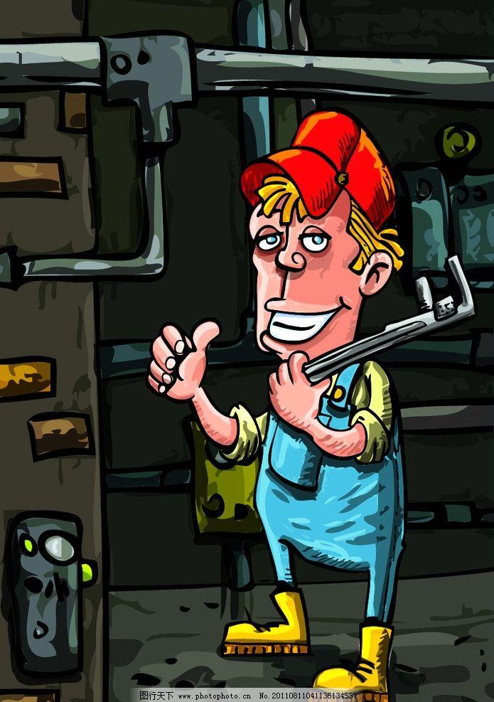 卡通职业人物 矢量卡通人物 工人 修理工人 职业人物 汽车修理工 人物