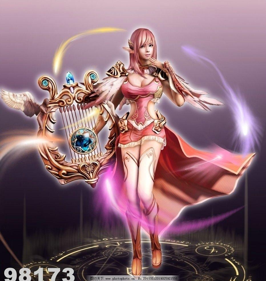 美女游戏人物 游戏 美女人物 动漫 手绘 粉红色 武器 唯美 背景 飘逸