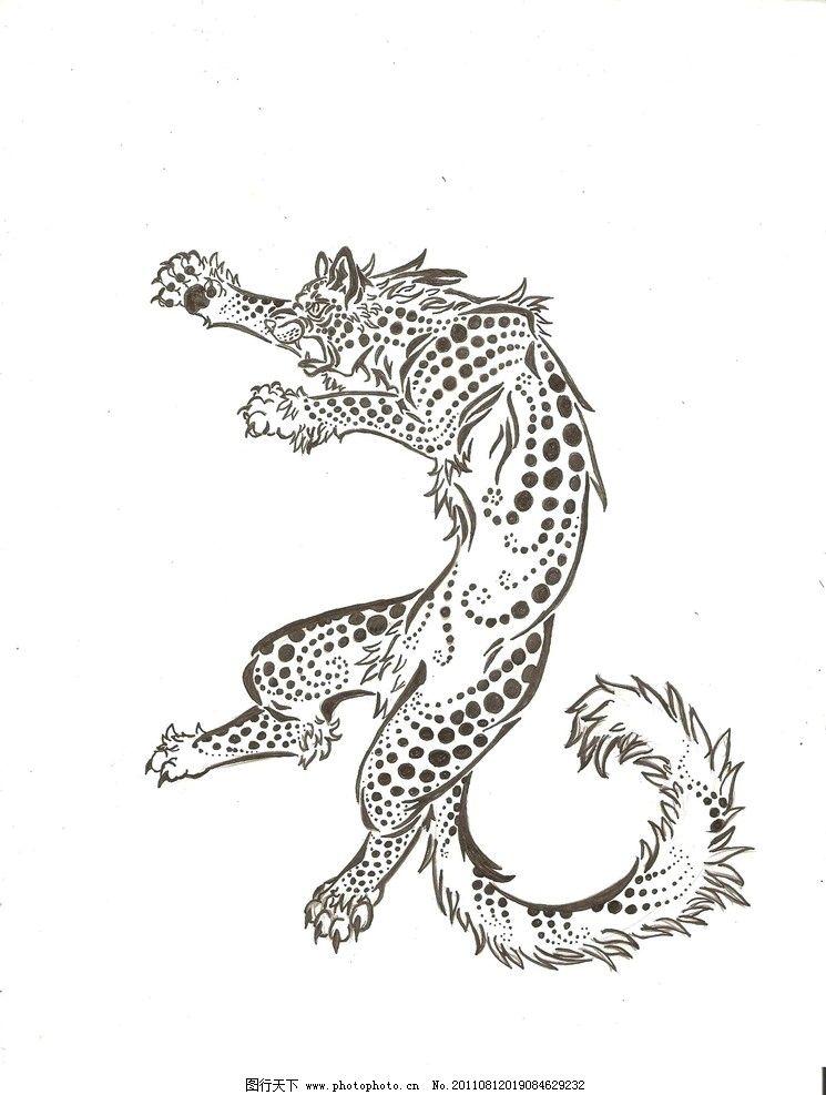 豹子素描 绘画作品 豹子