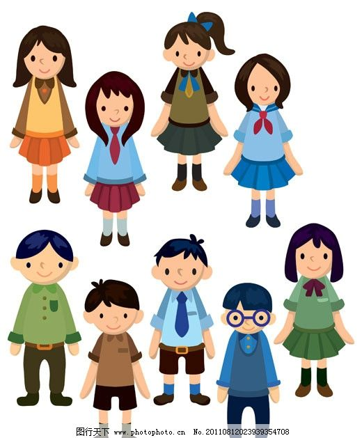 卡通人物 男孩 女孩 小学生 初中生 高中生 大学生 上学 读书