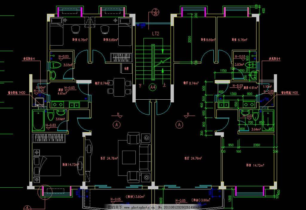 三室两厅户型平面图片_建筑设计_环境设计_图行天下