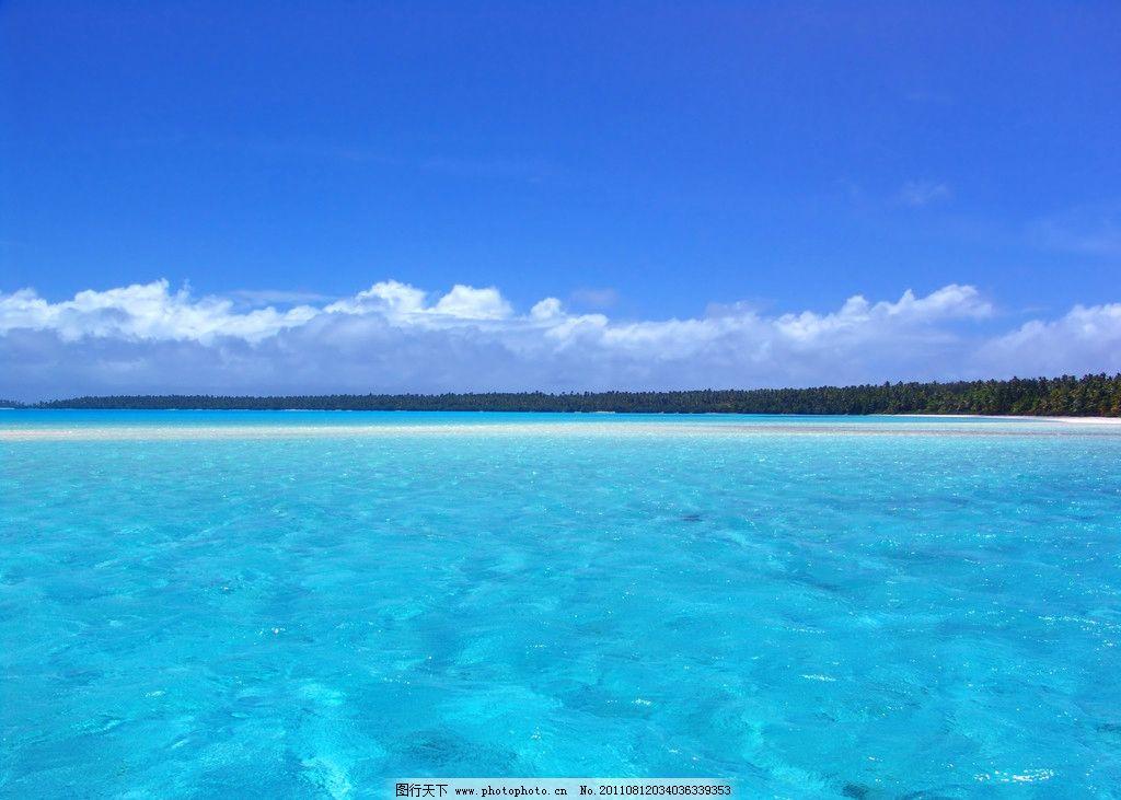 海边风景 大海 高山 小岛 岛屿 蓝天 白云 蓝色大海 海洋 椰子树 自然