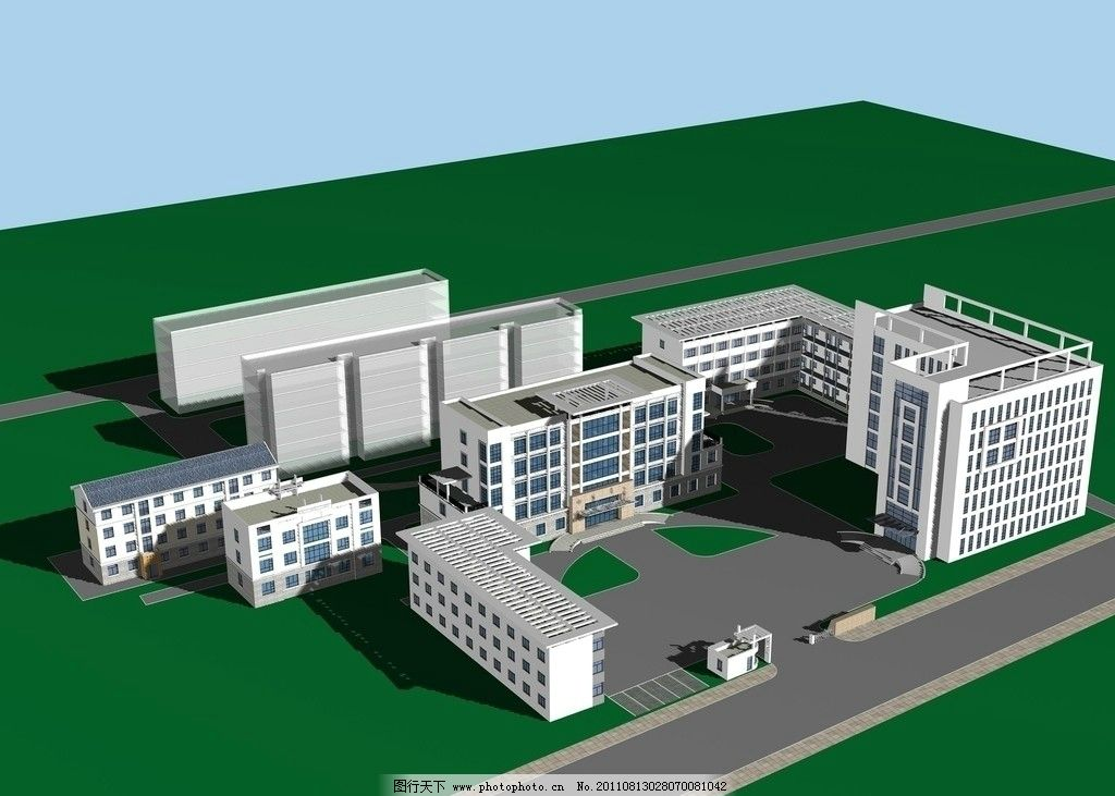 医院鸟瞰图 透视图 医院        3d 建筑设计 环境设计 设计 72dpi jp