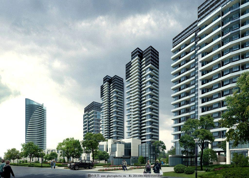 景观设计  高档小区入口效果图 建筑效果图 鸟瞰效果图 公共建筑 城市