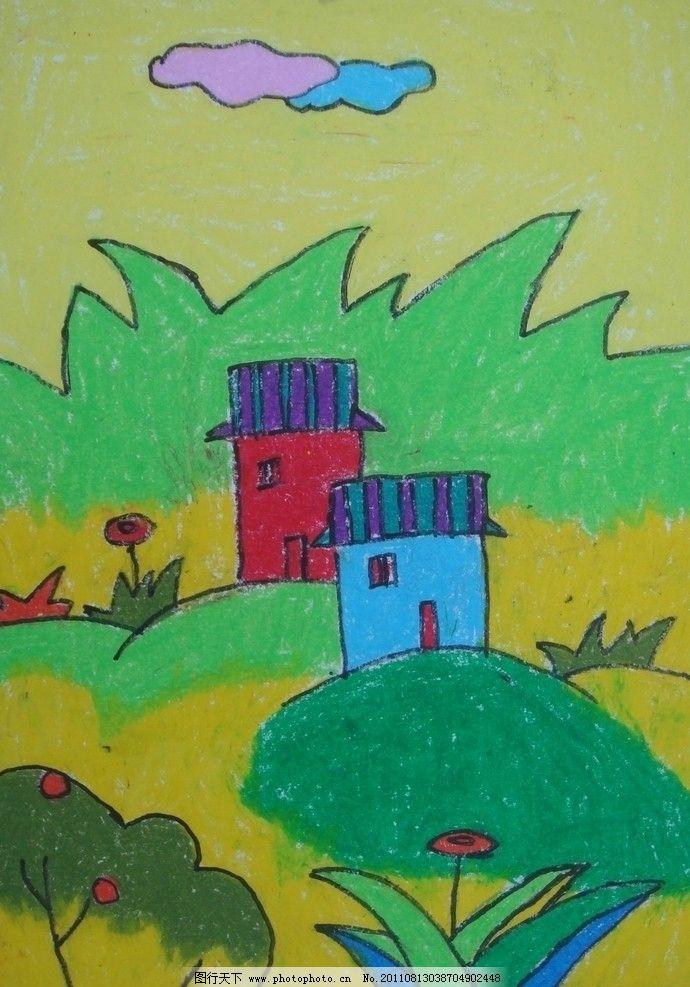 儿童画 云朵 小屋 高山 草地 卡通画 美术绘画 文化艺术 摄影 72dpi