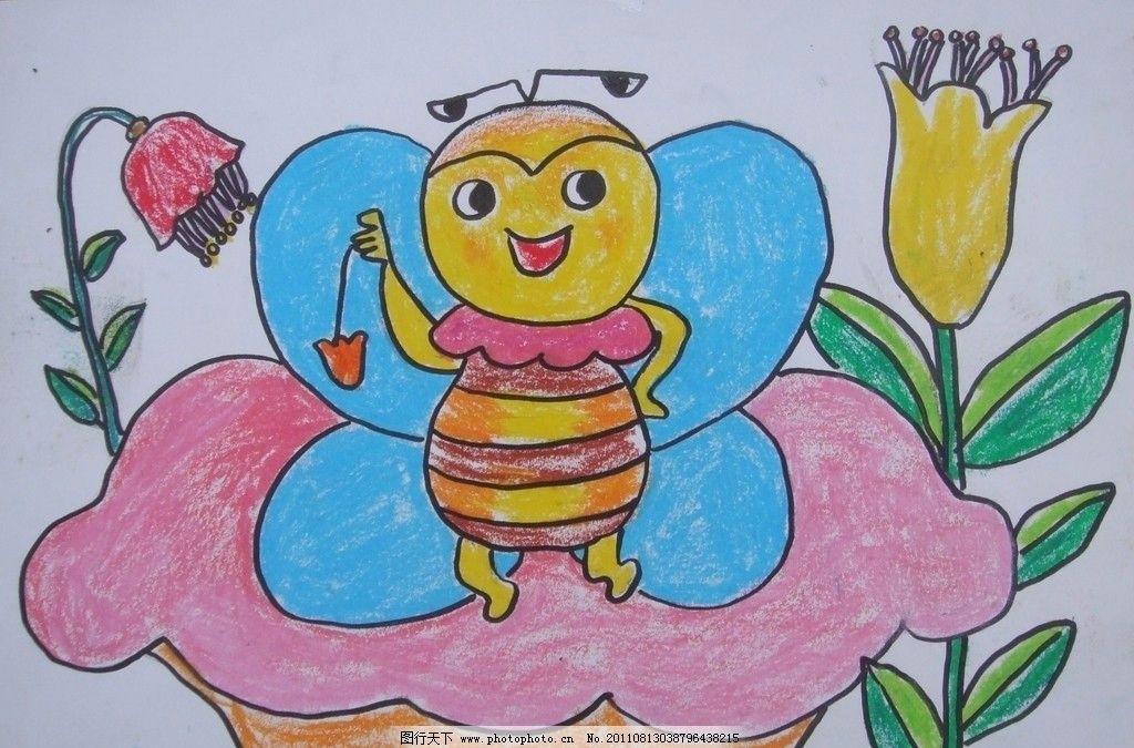 小蜜蜂 花朵 儿童画 卡通画 美术绘画 摄影