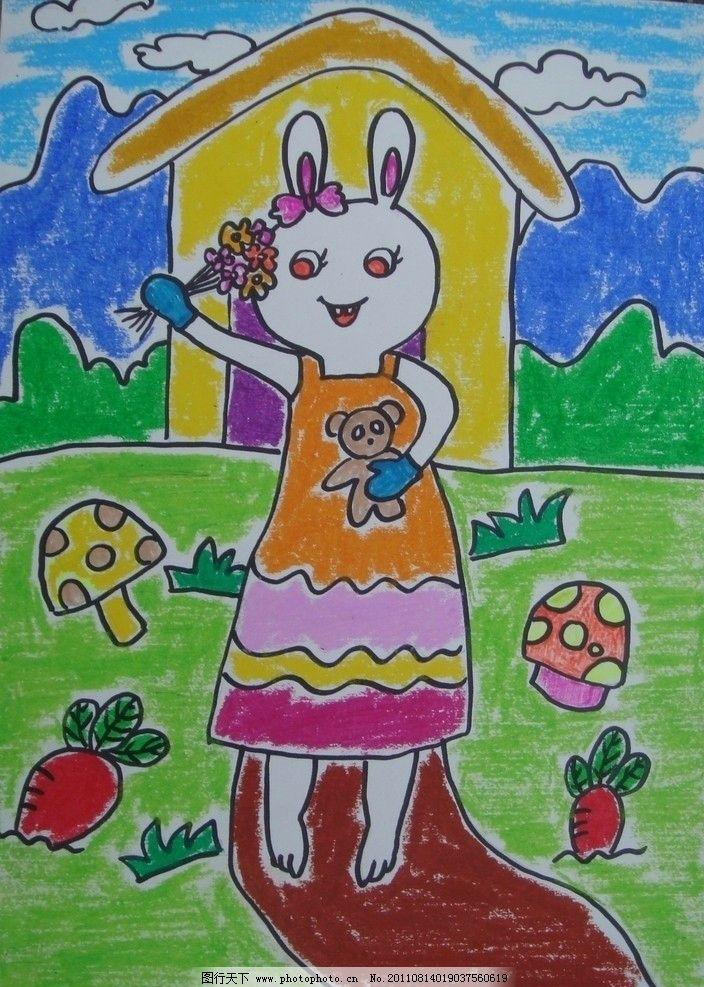 儿童画 小白兔 房子 蘑菇 云朵 小路 绘画书法 文化艺术图片