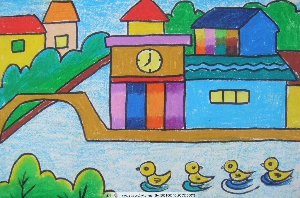小桥流水人家 小桥流水 小鸭戏水 房子 树 绘画书法 文化艺术 设计 72