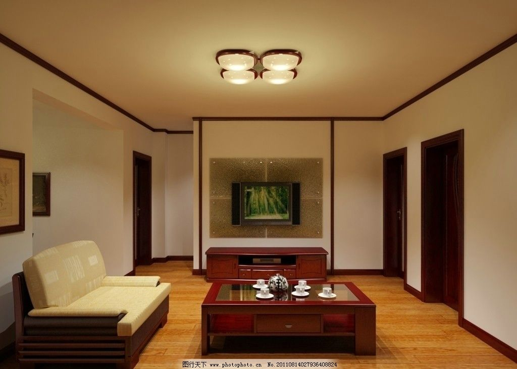 客厅效果图 烟台紫郡城 双叶家具 实木家具 室内效果图