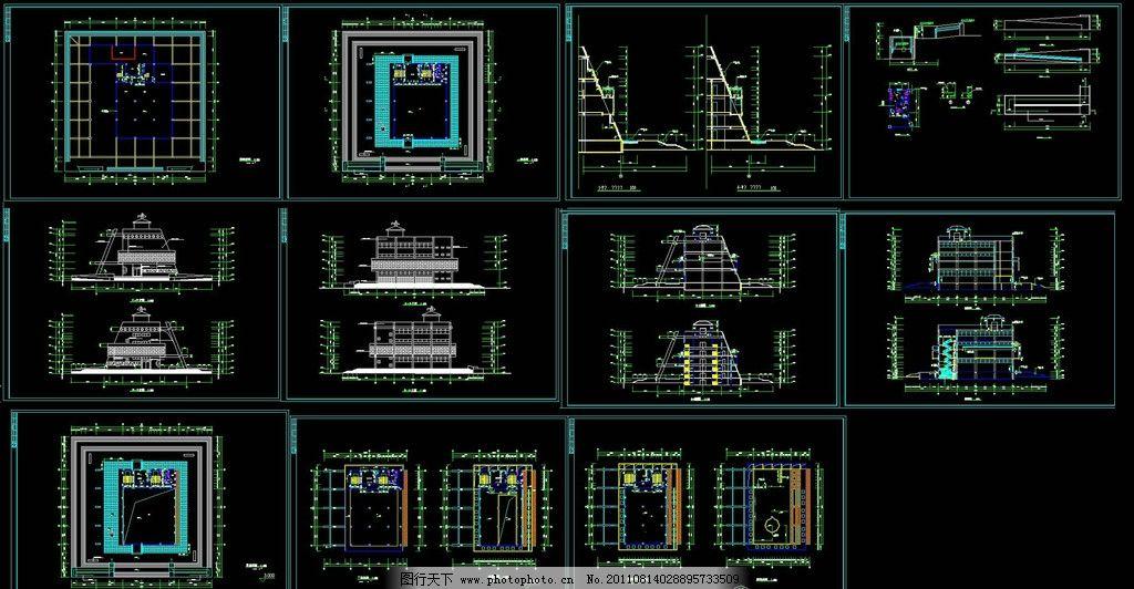 博物馆建筑施工图 博物馆 建筑 施工图 平面图 布置图 室内设计 工装