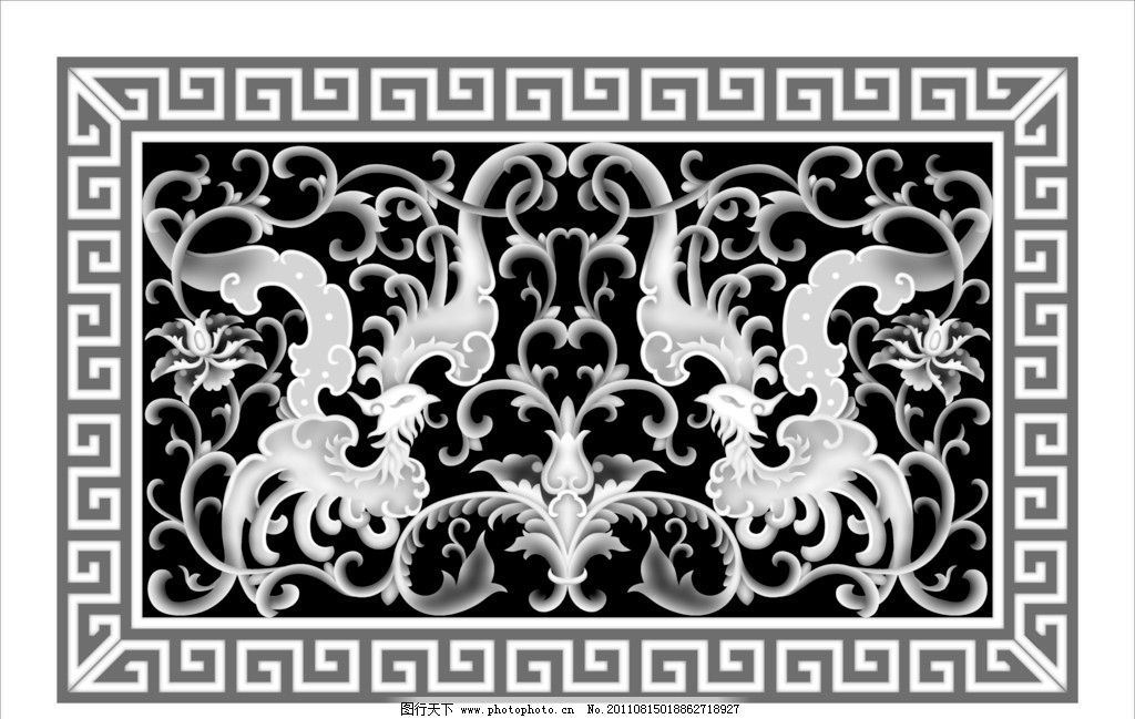方形欧式镂空雕花灰度图