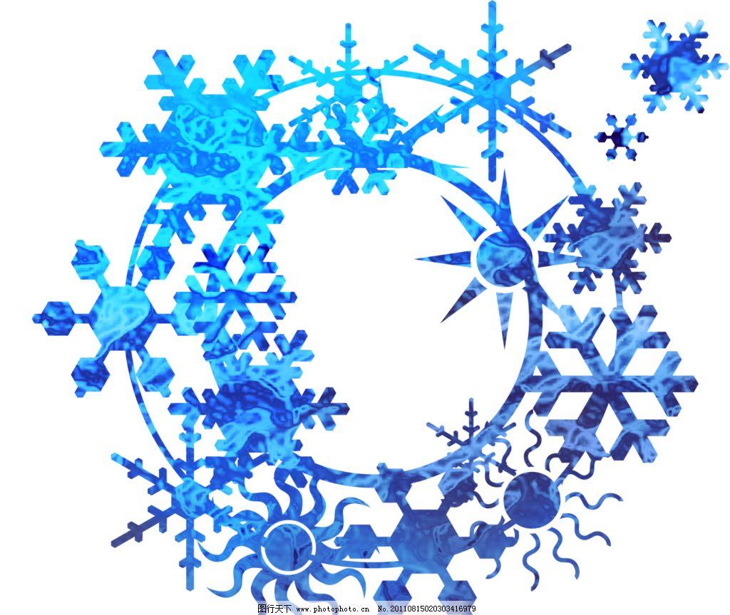 边框素材 圆形 雪花 渐变