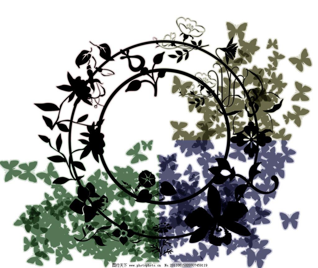 边框素材 圆形 花边 蝴蝶 四色 花边花纹 底纹边框 设计 118dpi png