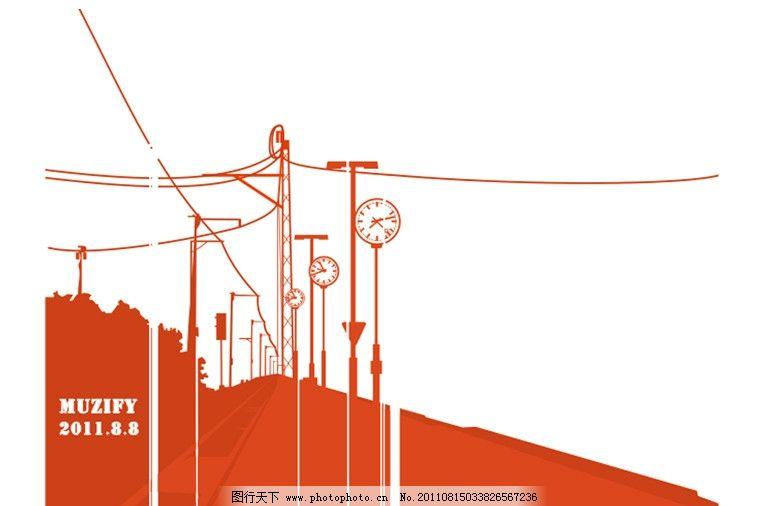 铁路 铁道 路标 铁轨 道路 电线杆 路途 设计素材 美术绘画 文化艺术图片