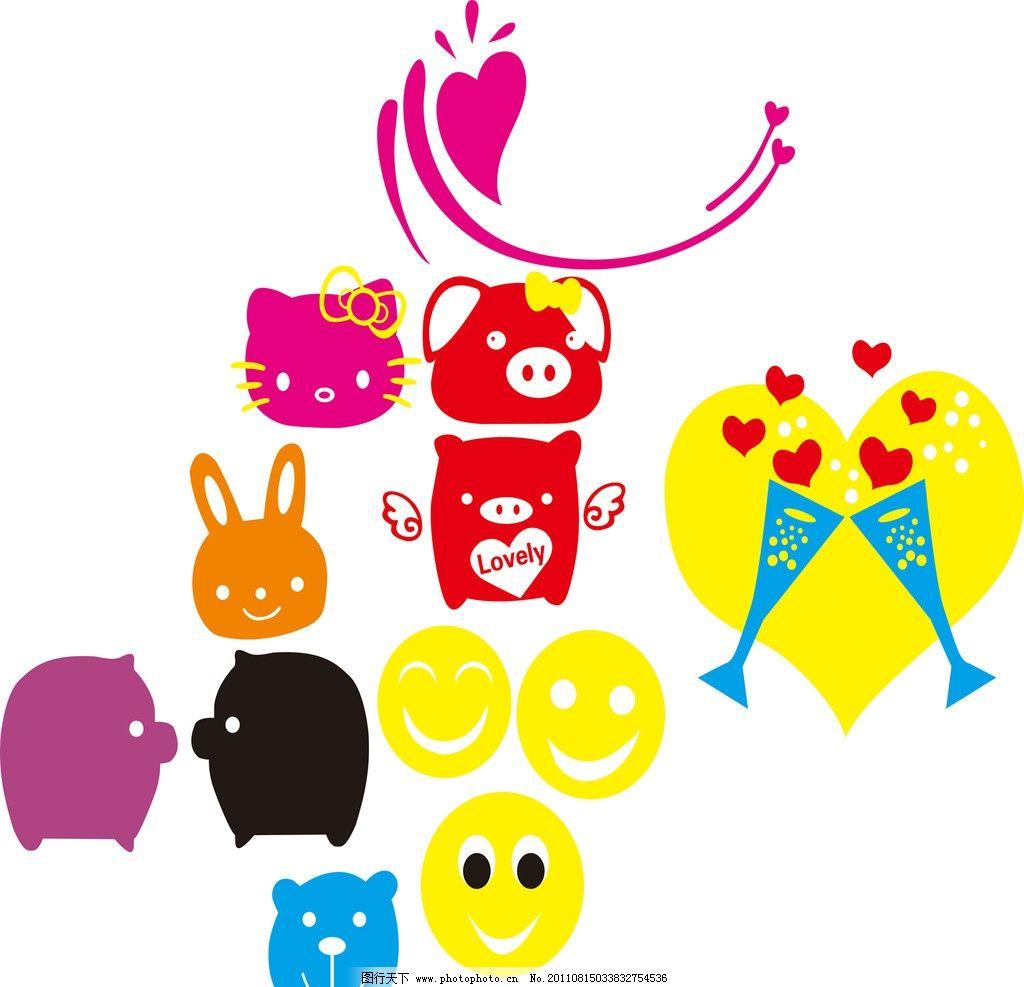 矢量卡通动物 猪 笑脸 兔 矢量素材 其他矢量