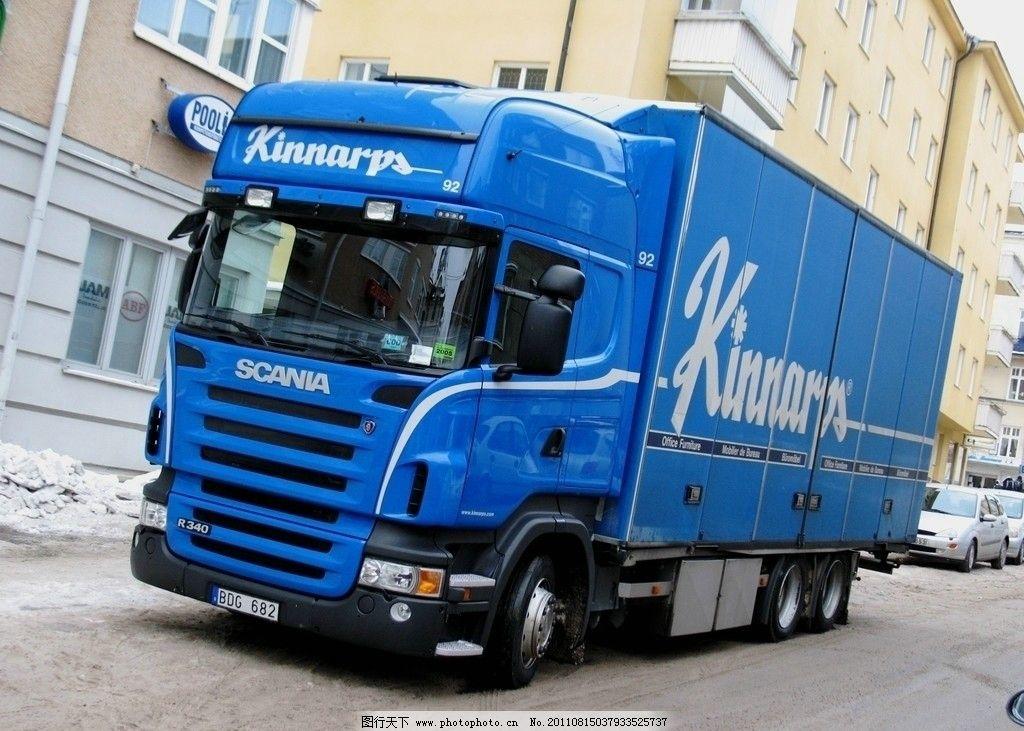 蓝色大货车图片