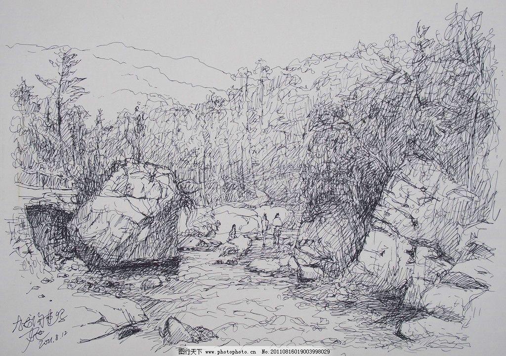 森林图片素描简单