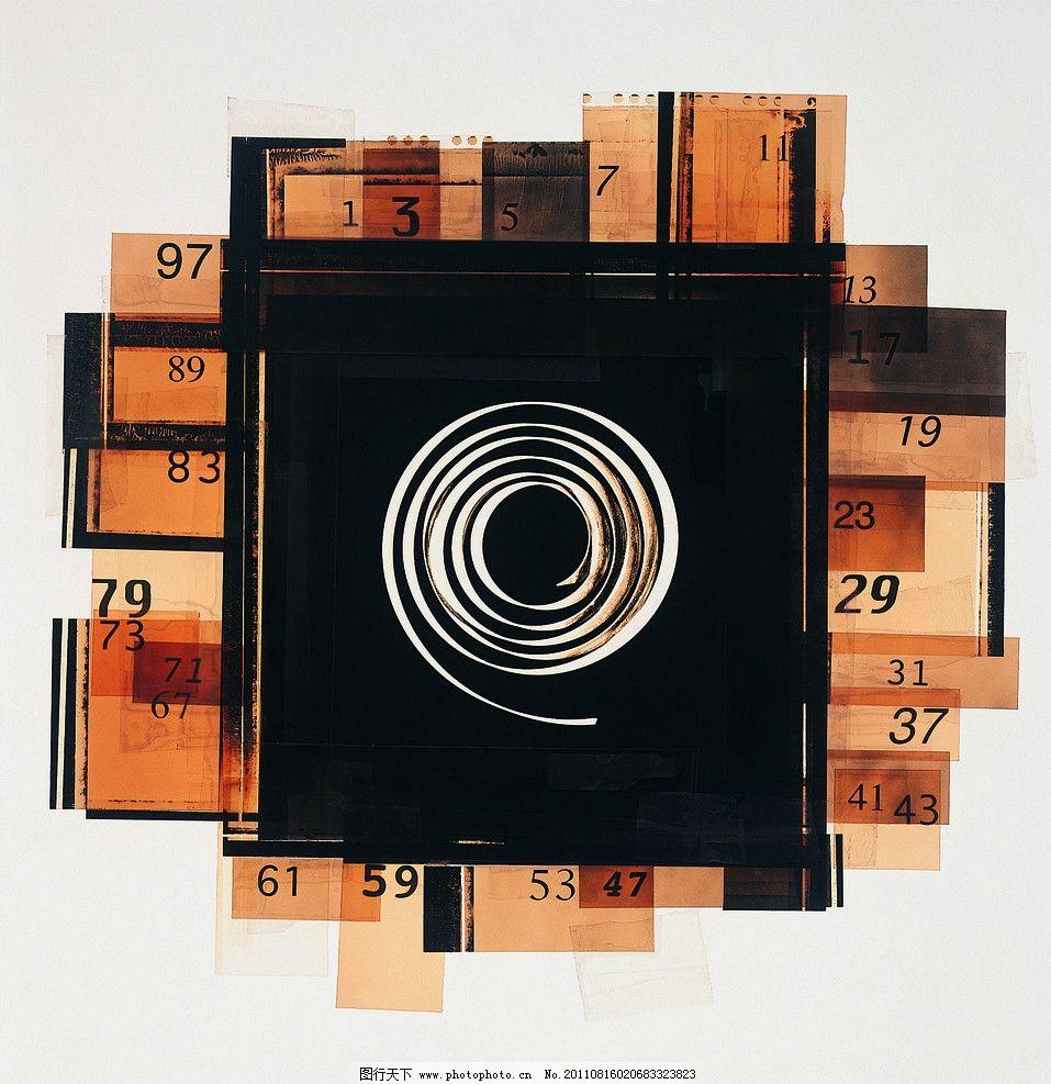 抽象图案设计 透叠 木质 漩涡 年轮 斑驳 旧黄 方框 创意 数字