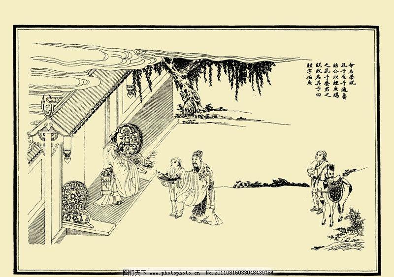 命名荣贶 孔子圣迹图 古代人物 孔子 弟子 古建筑 柳树 云 白描 线描