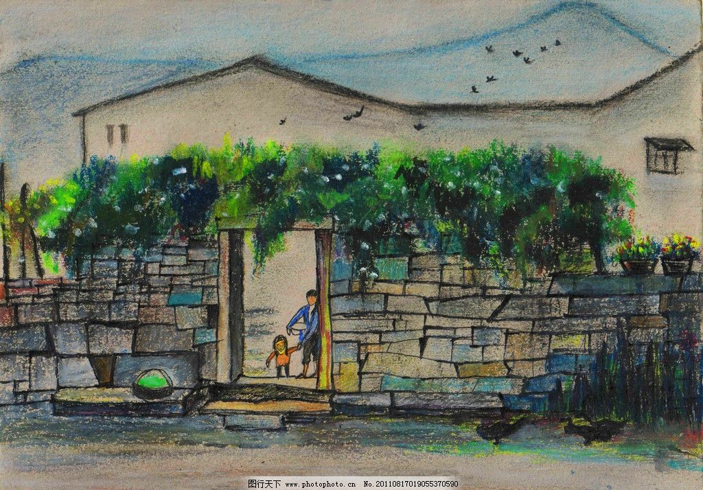 江南小舍 油画 风景油画 风景 自然风景 自然风景油画 自然 手绘 原创