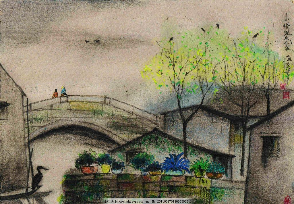 彩铅树林插画手绘图片