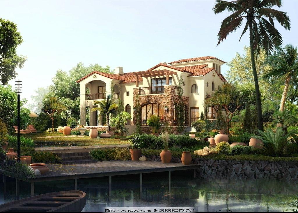 别墅庭院景观效果图图片_景观设计_环境设计_图行天下