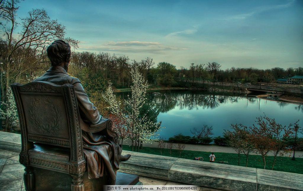 林肯雕塑图片,地产 林肯公园 背影 看湖 建筑园林-图