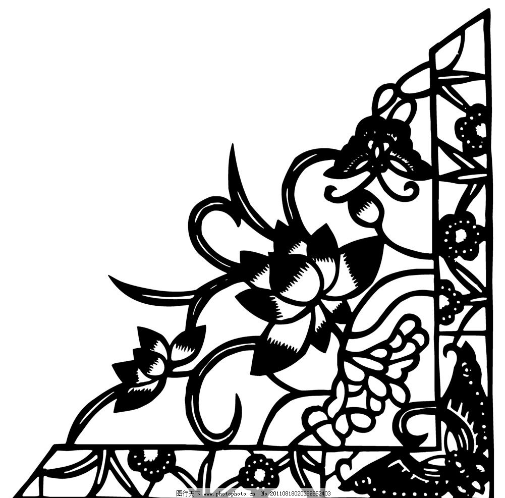 花纹 角隅纹样 荷花 传统 经典 图案 中国图案 精心设计 eps 矢量