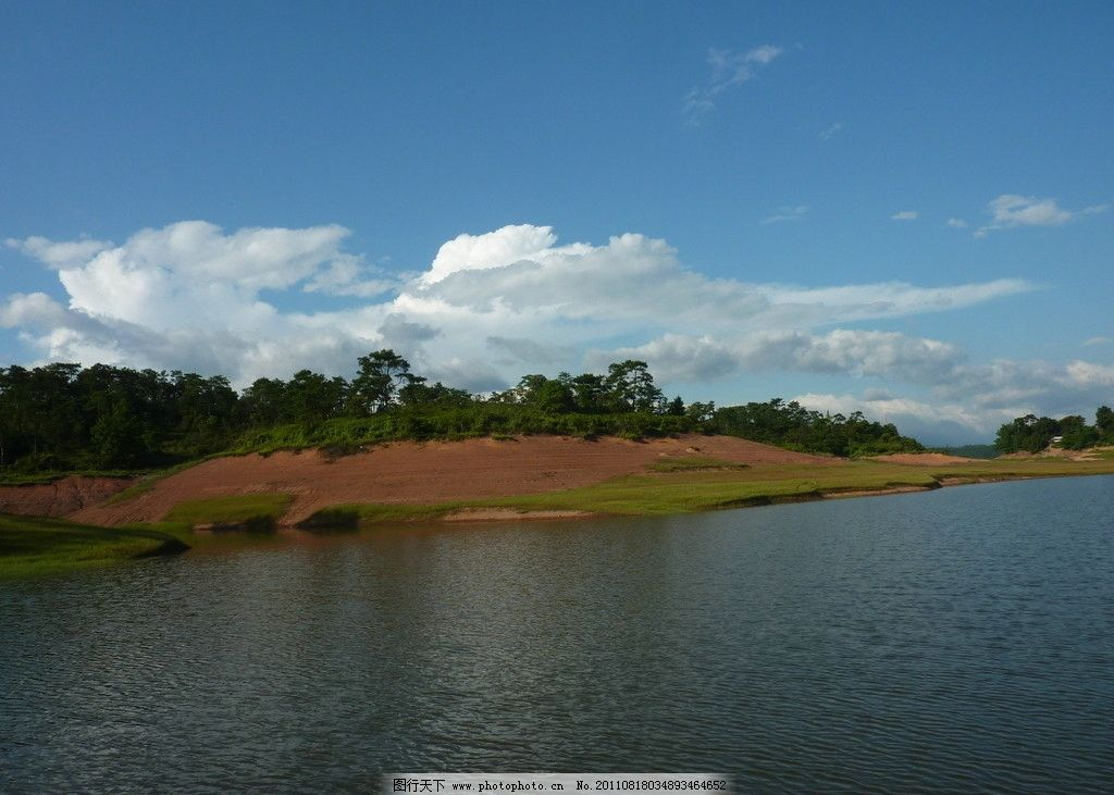 绿水 风景 旅游 蓝天白云 湖水 山峦 绿山 绿树 远山 摄影图 自然风景