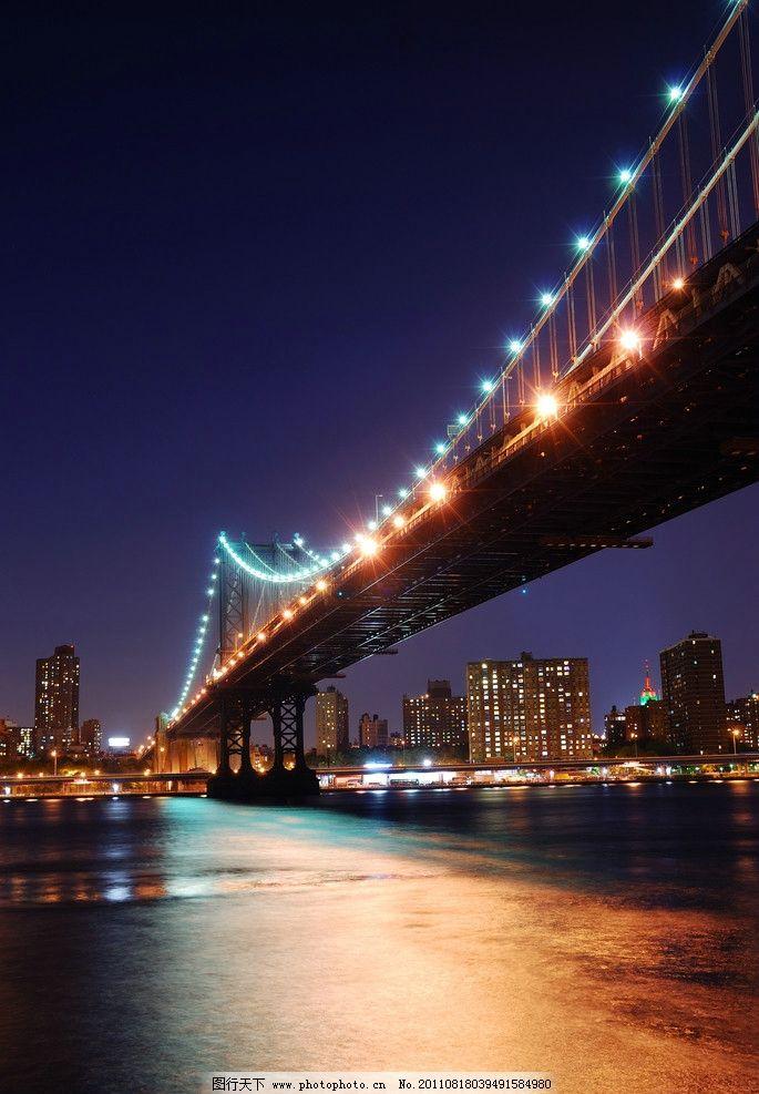 城市桥梁夜景 城市夜景 大桥 跨海大桥 铁索大桥 城市建筑 城市风光