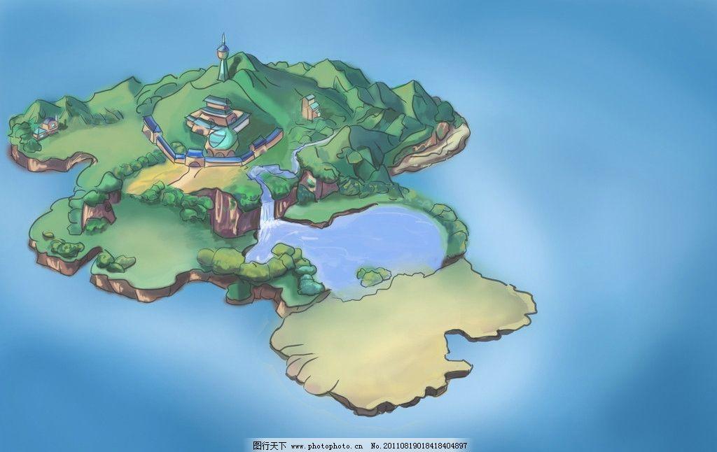 岛屿 海洋 树木 海岛 手绘 设计 艺术 卡通 插画 场景 蓝色 风景漫画