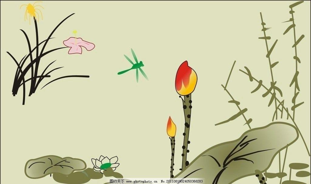 荷花 池塘 花朵 蜻蜓 风景画 水墨画 荷塘 花 草 待放的荷苞 田园风光