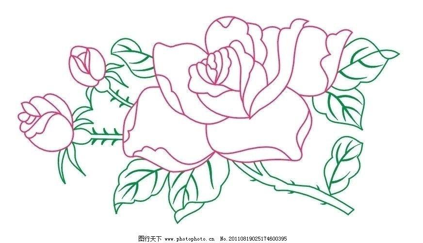 玫瑰花线条 玫瑰花 线条 绿叶 红花 底纹 边框 条纹线条 底纹边框