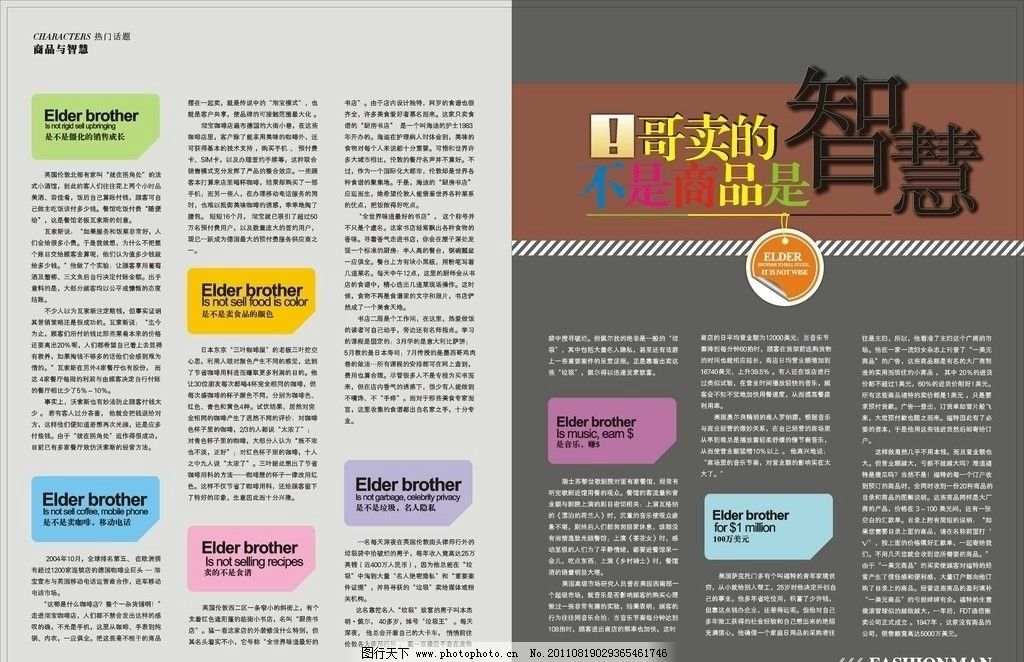 杂志内页 时尚杂志 板式设计 画册内页 软文 矢量