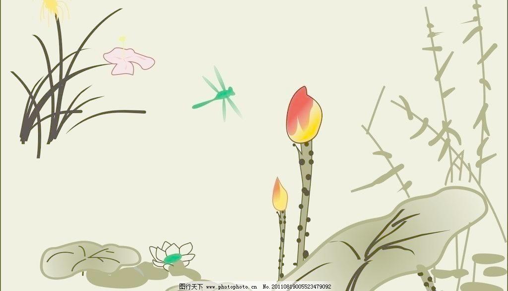 池塘荷花蜻蜓简笔画