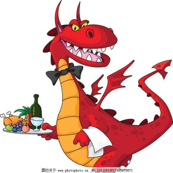 可爱的卡通龙 可爱 卡通 龙 3D 飞龙 翅膀 服务生 端盘子 饮料 食物 水果 酒水 生物世界 矢量素材 EPS 其他生物 矢量