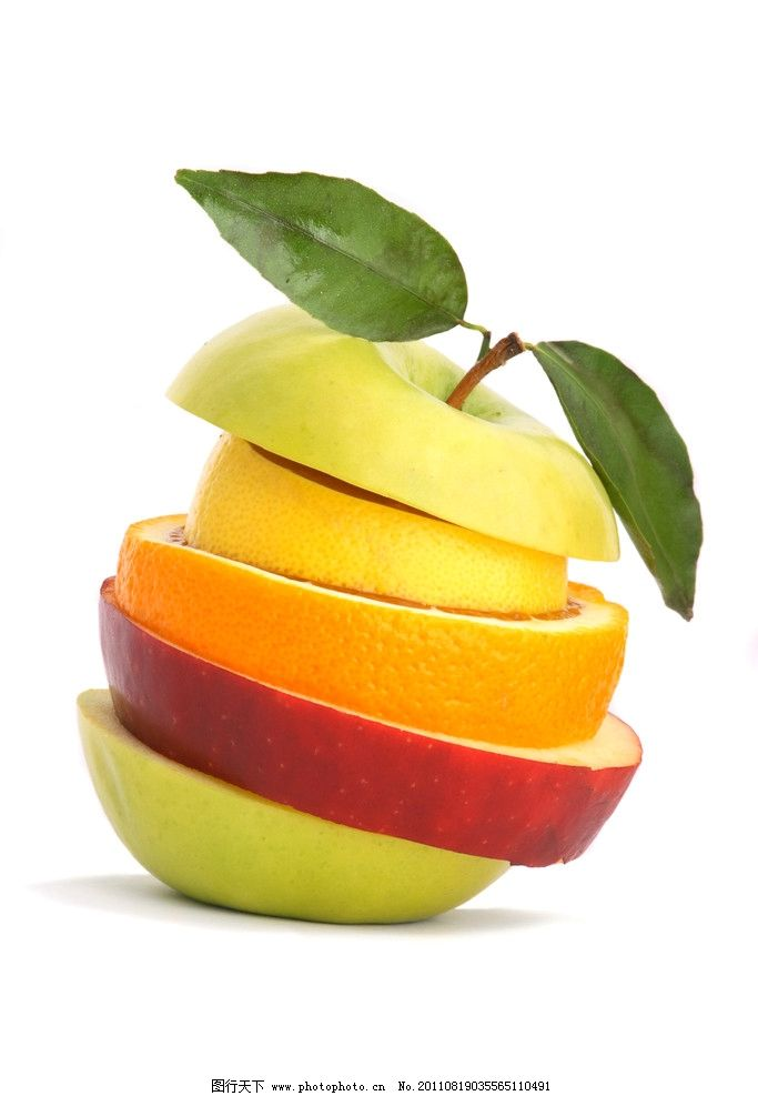 水果拼图 创意 奇妙 有趣 青苹果 红苹果 橙子 梨 美味水果集锦 水果