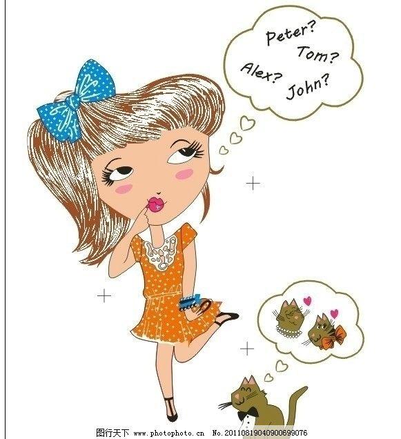 peter女孩牵猫 蝴蝶结 儿童幼儿 矢量人物
