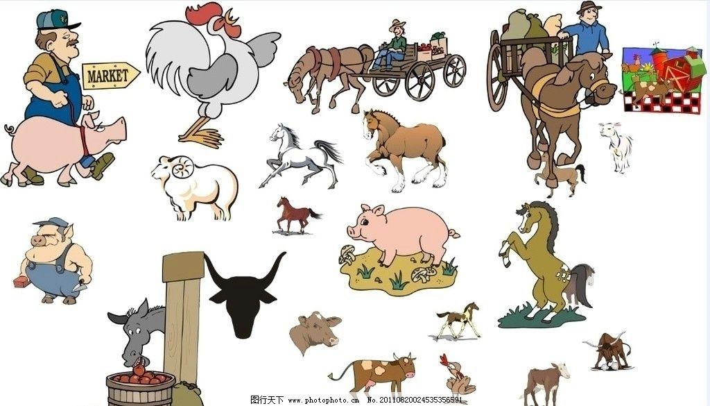 可爱的动物 矢量图形 猪