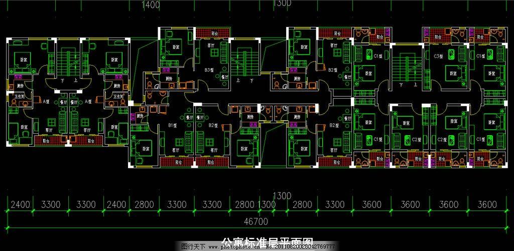 公寓标准层平面图 CAD DWG 图纸 平面图 素材 装修 装饰 施工图 室内设计 工业园区 厂区 厂房 规划区 企业 福永镇凤凰村第三工业园区CAD图 建筑设计 环境设计 源文件