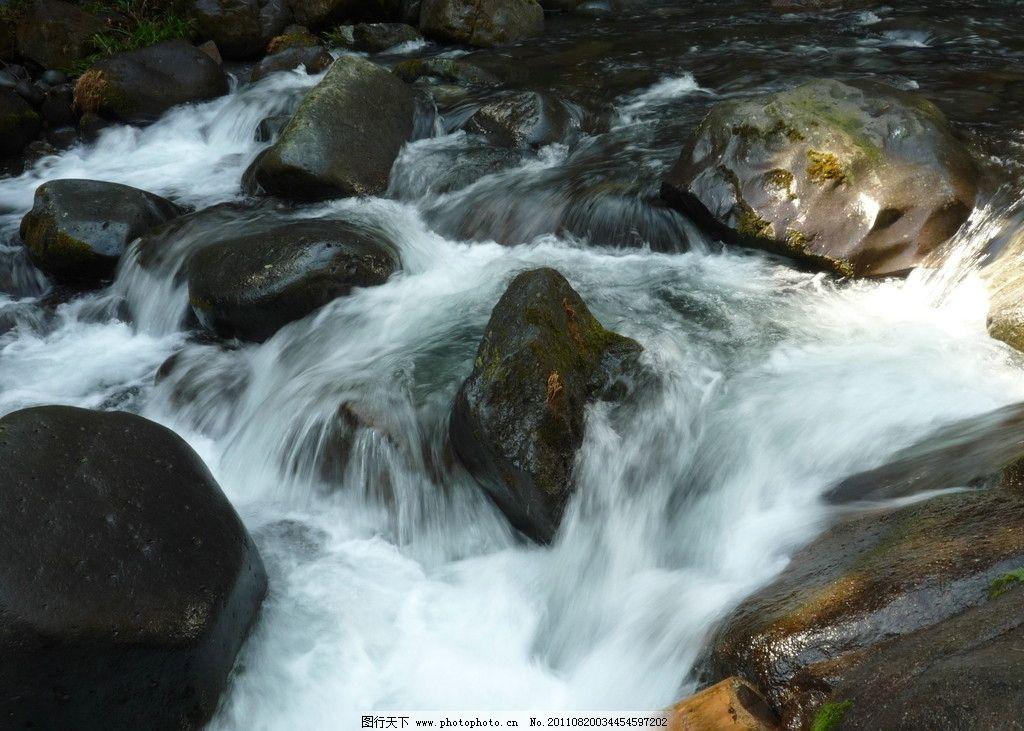 山涧溪水图片,水流 小瀑布 山水风景美图 自然景观-图