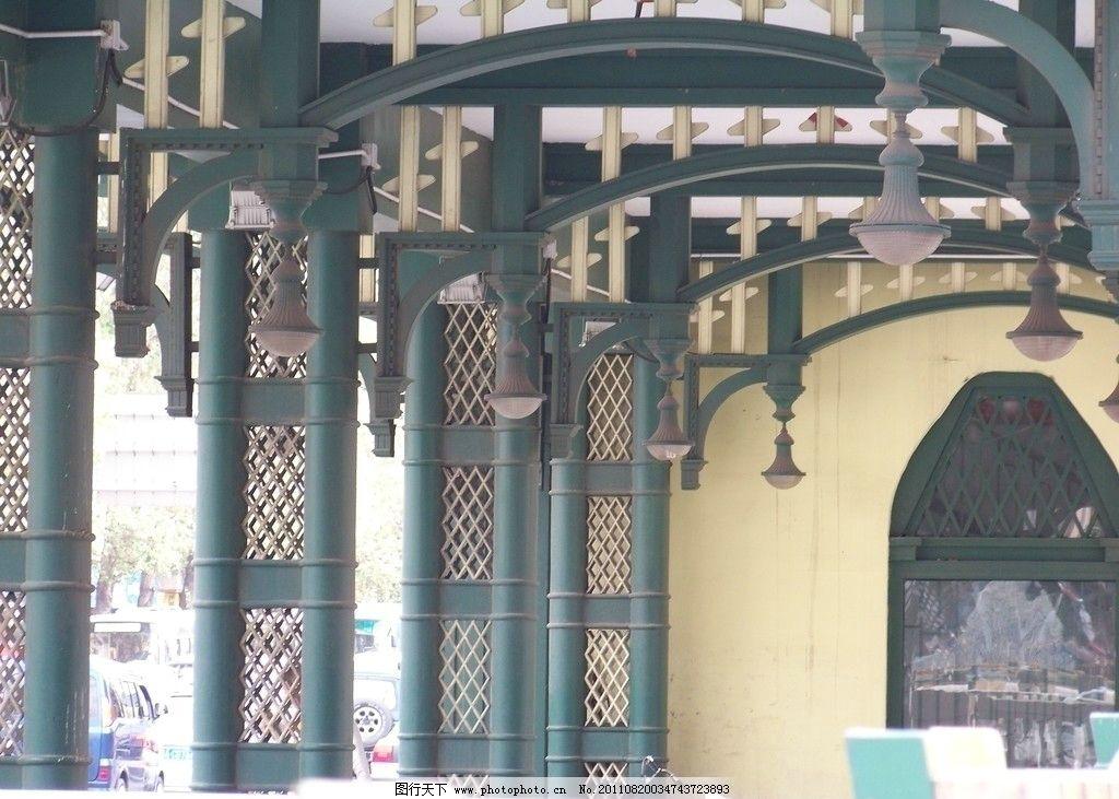 满头吊灯 拱圈 骑跨券 中国 东北 哈尔滨 建筑 墨绿色亭子 墨绿色