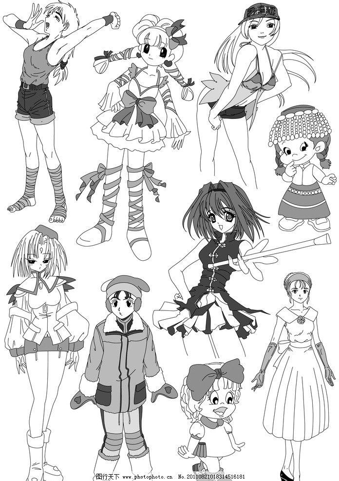 手绘黑白线稿图片_动漫人物_动漫卡通_图行天下图库