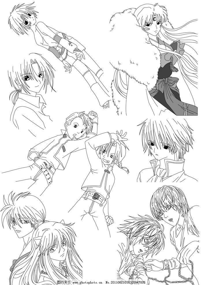 动漫卡通 动漫人物  漫画黑白线稿 手绘 线稿 人物线稿 手绘线稿 少女
