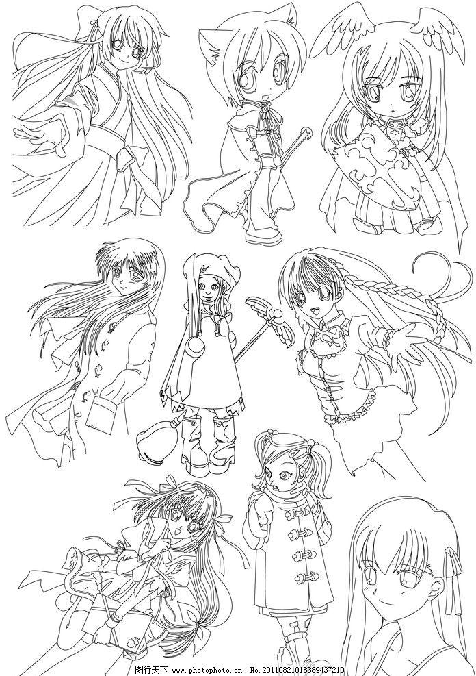 花仙子 手绘线稿 黑白插画 卡通 漫画 日本 时尚 性感 少女 动漫人物