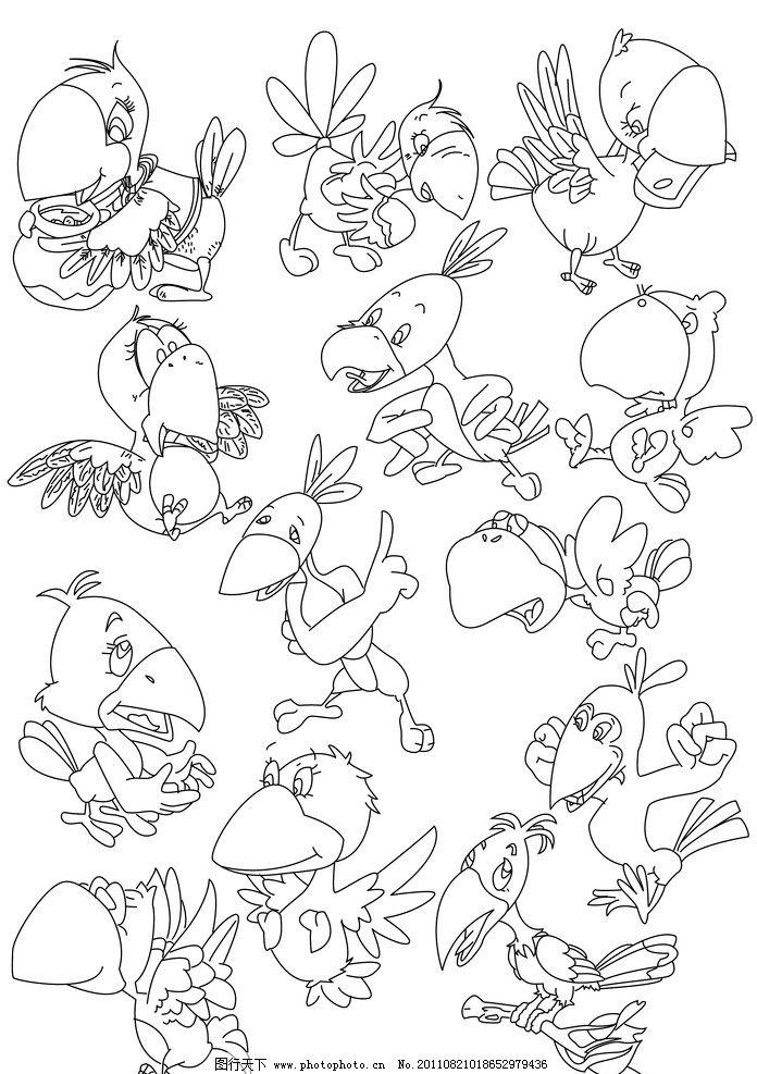 漫画黑白线稿图片,手绘 乌鸦喝水 鸟 动物线稿 手绘