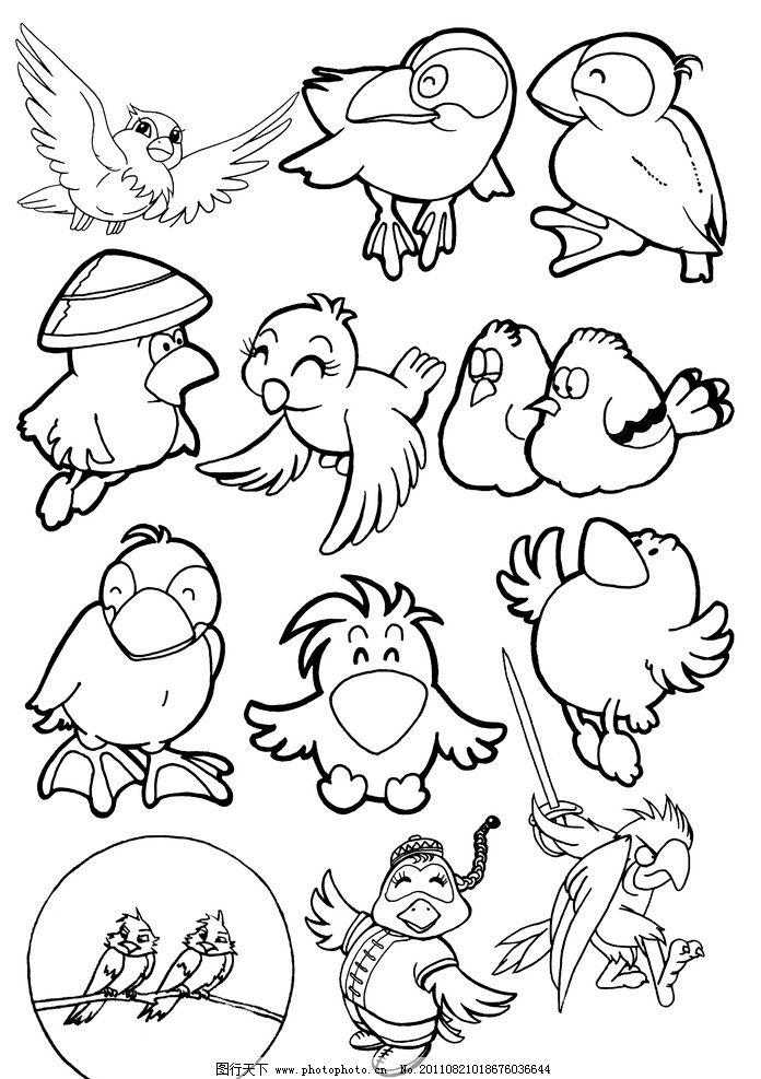 手绘 线稿 动物线稿 麻雀 燕子 手绘线稿 黑白插画 可爱 卡通 漫画 白
