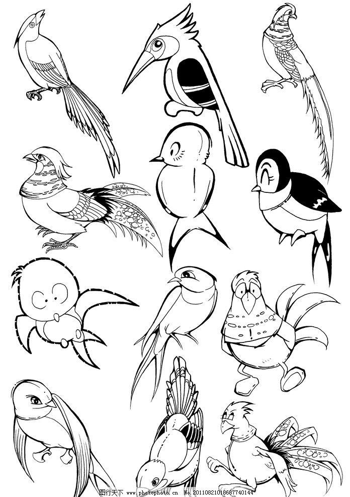 卡通鸟 绵鸡 燕子 啄木鸟 动物线稿 手绘线稿 黑白插画 可爱 卡通